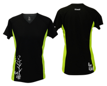 Load image into Gallery viewer, ruseen running Women's run wild reflective performance tee black & lime