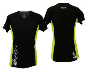 ruseen running Women's run wild reflective performance tee black & lime