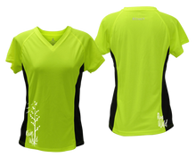 Load image into Gallery viewer, ruseen running Women's run wild reflective performance tee lime with black sides