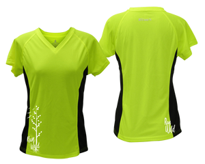 ruseen running Women's run wild reflective performance tee lime with black sides