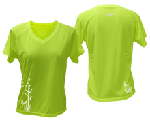 Load image into Gallery viewer, ruseen running Women's run wild reflective performance tee lime yellow