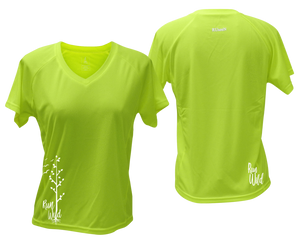 ruseen running Women's run wild reflective performance tee lime yellow