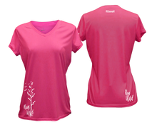 Load image into Gallery viewer, ruseen running Women's run wild reflective performance tee neon pink