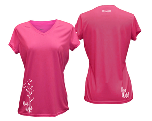 ruseen running Women's run wild reflective performance tee neon pink