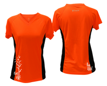 Load image into Gallery viewer, ruseen running Women's run wild reflective performance tee orange with black sides