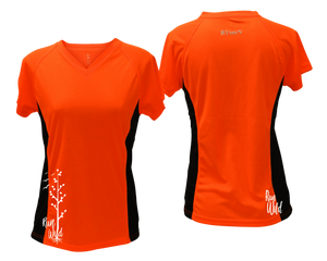 ruseen running Women's run wild reflective performance tee orange with black sides