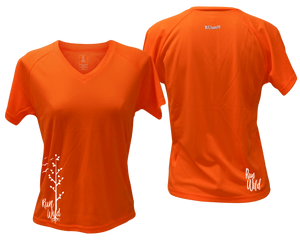 ruseen running Women's run wild reflective performance tee orange