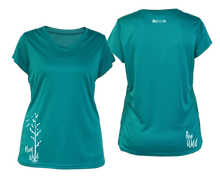 Load image into Gallery viewer, ruseen running Women's run wild reflective performance tee teal