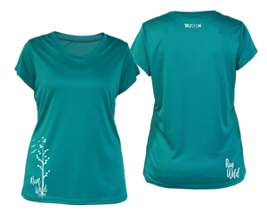 ruseen running Women's run wild reflective performance tee teal