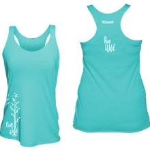 Load image into Gallery viewer, womens performance running tank run wild aquamarine