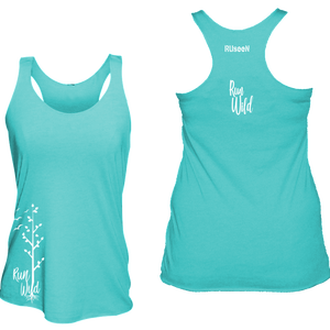 womens performance running tank run wild aquamarine