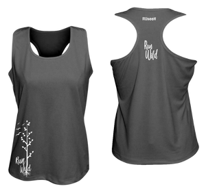 womens performance running tank run wild black