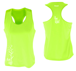 womens performance running tank run wild lime yellow
