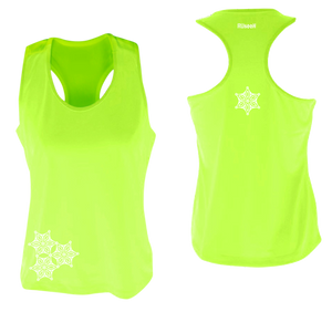 womens reflective unique running tank lime yellow