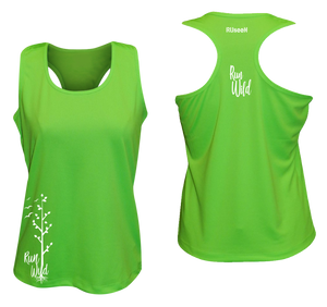 womens performance running tank run wild neon green