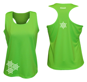 womens reflective unique running tank neon green