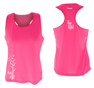 womens performance running tank run wild neon pink