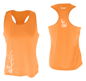 womens performance running tank run wild orange