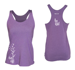 womens performance running tank run wild purple