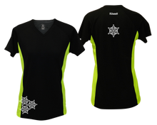 Load image into Gallery viewer, ruseen running women's short sleeve reflective tee black and lime