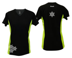 ruseen running women's short sleeve reflective tee black and lime