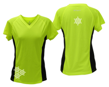 Load image into Gallery viewer, ruseen running women's short sleeve reflective tee lime with black sides