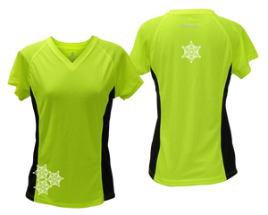 ruseen running women's short sleeve reflective tee lime with black sides