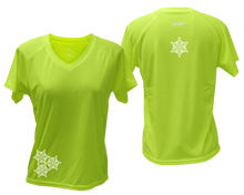 Load image into Gallery viewer, ruseen running women's short sleeve reflective tee lime