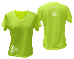 ruseen running women's short sleeve reflective tee lime