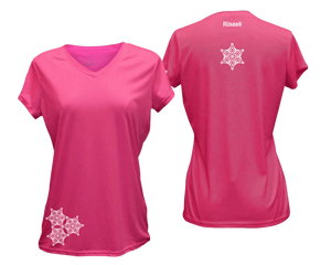 ruseen running women's short sleeve reflective tee pink