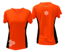 Load image into Gallery viewer, ruseen running women's short sleeve reflective tee orange with black sides