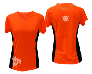 ruseen running women's short sleeve reflective tee orange with black sides