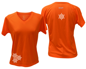ruseen running women's short sleeve reflective tee orange