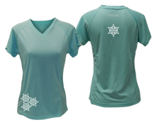Load image into Gallery viewer, ruseen running women's short sleeve reflective tee sea green