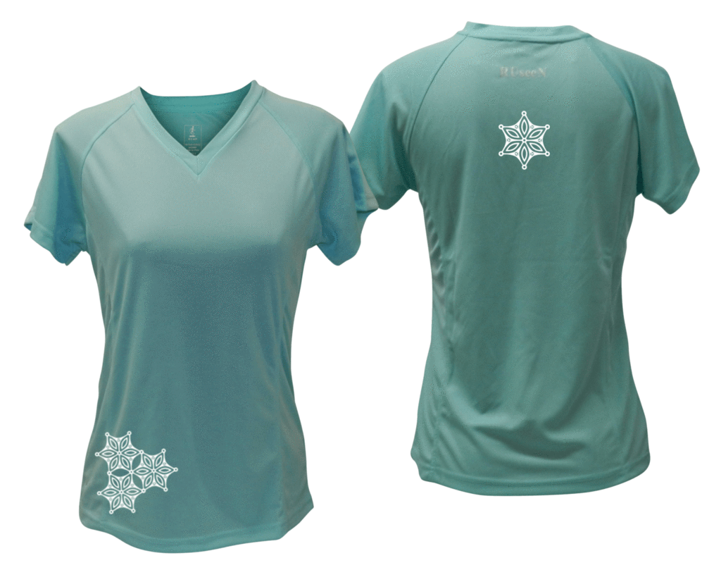 ruseen running women's short sleeve reflective tee sea green