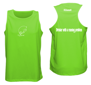 ruseen reflective running tank drinker with a running problem neon green