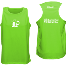 Load image into Gallery viewer, ruseen running Will run for beer logo singlet for runners