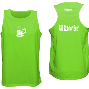 ruseen running Will run for beer logo singlet for runners