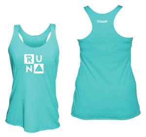 ruseen running Women's performance running tank run squared bright blue