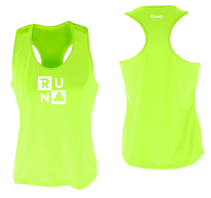 ruseen running Women's performance running tank run squared lime yellow