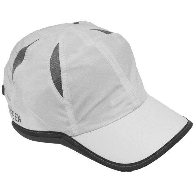 mesh performance reflective running hat white and gray
