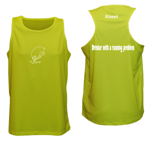 ruseen reflective running tank drinker with a running problem lime yellow