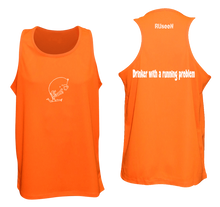Load image into Gallery viewer, ruseen reflective running tank drinker with a running problem orange