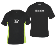 Load image into Gallery viewer, ruseen running will run for beer reflective moisture wicking tee black lime