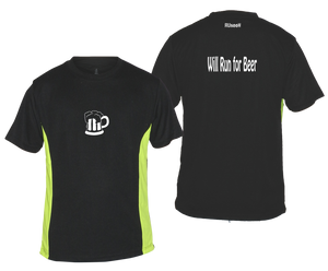 ruseen running will run for beer reflective moisture wicking tee black lime