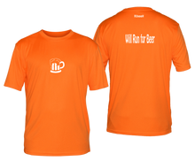 Load image into Gallery viewer, will run for beer reflective moisture wicking tee orange