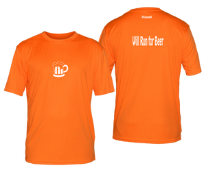 will run for beer reflective moisture wicking tee orange