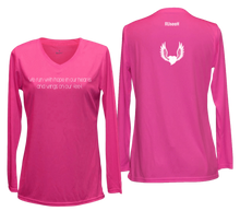 Load image into Gallery viewer, women's long sleeve reflective running shirt winged heart pink