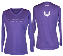 Load image into Gallery viewer, ruseen running women's long sleeve reflective running shirt winged heart purple