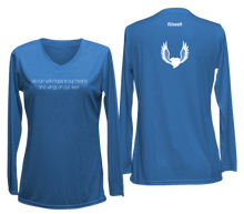 Load image into Gallery viewer, women's long sleeve reflective running shirt winged heart blue